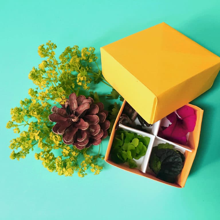 Easy origami box for nature collections via barley & birch