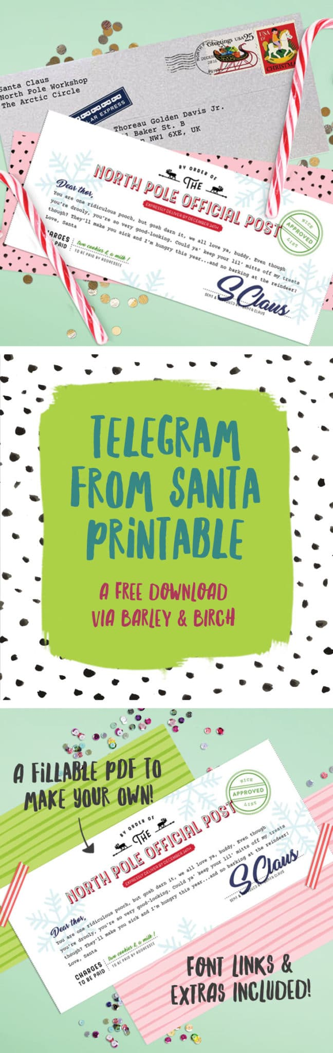 Surprise the favorite little in your life with a telegram from Santa - a free printable via barley & birch