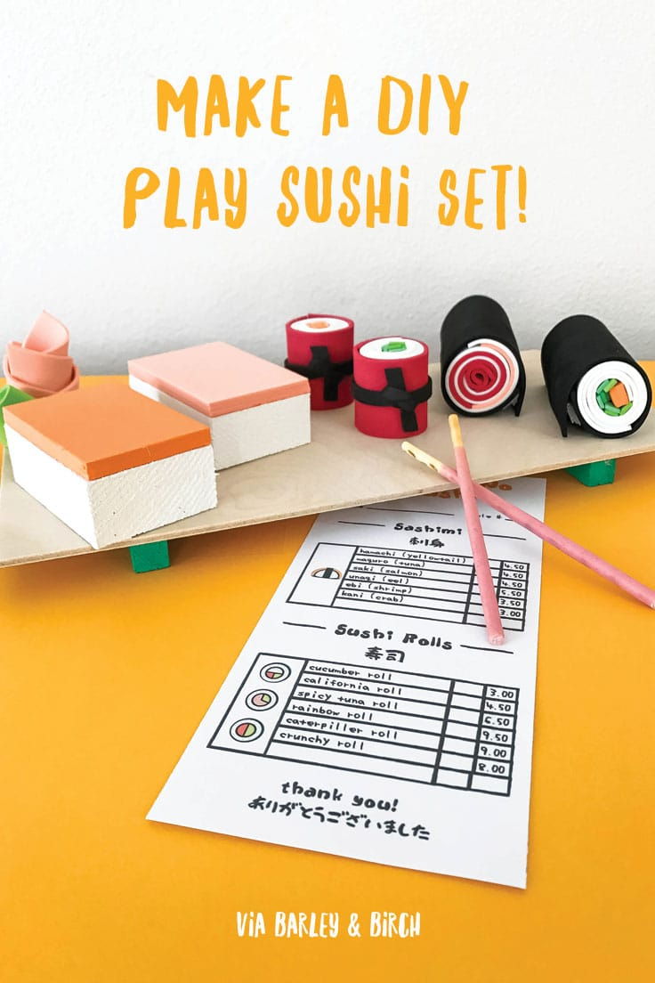 Make an easy DIY sushi play set complete with a printable order menu - perfect for fine motor development and pretend play! | via barley & birch