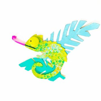 Create a variety of colorful chameleon kids crafts with simple recycled supplies | via barley & birch