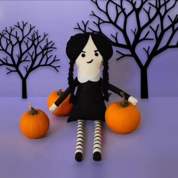 DIY Wednesday Addams Softie with template included from barley & birch