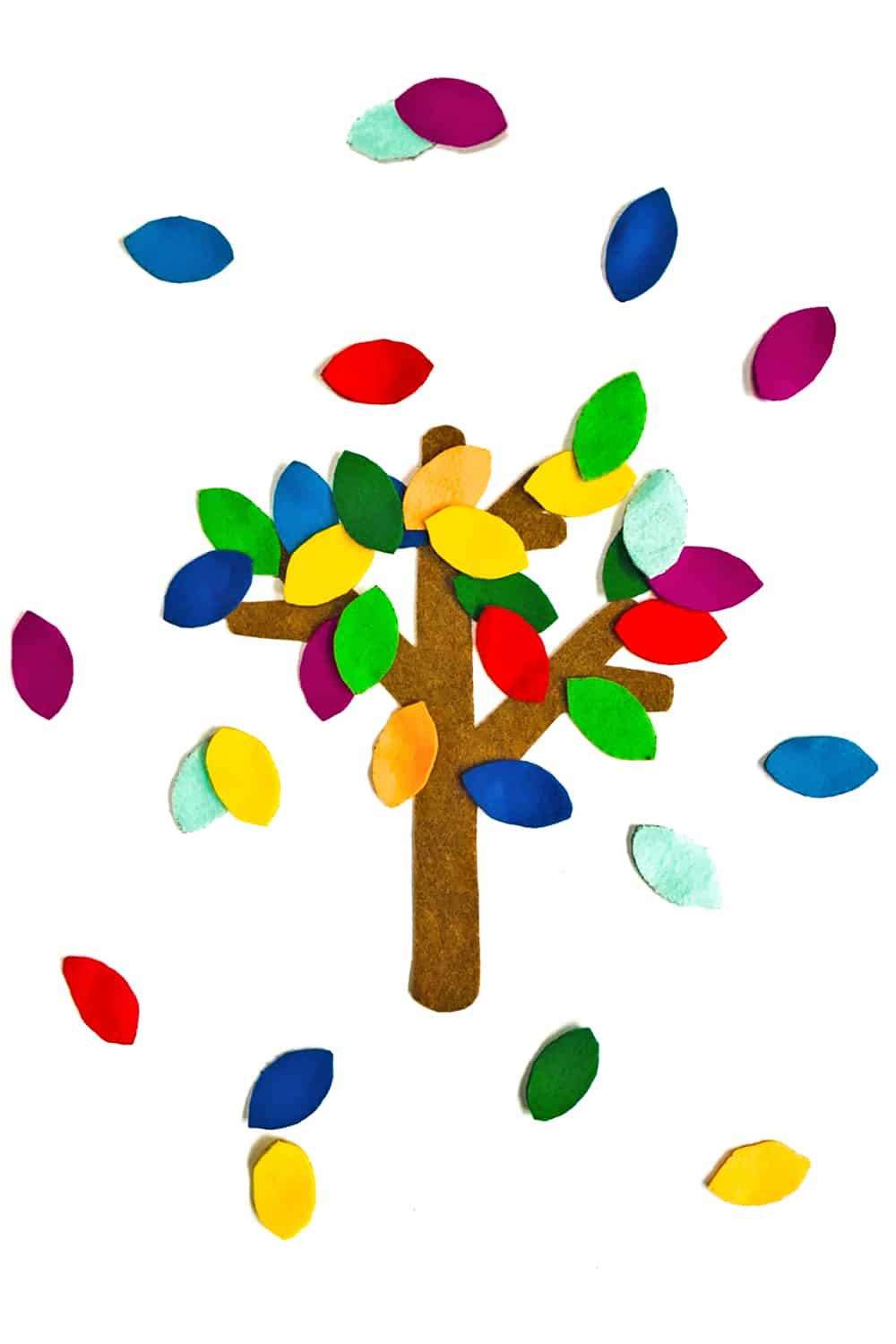 A quick and colorful DIY felt tree that can help teach toddlers seasons, counting sorting, colors and more