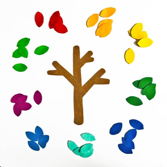 A quick and colorful DIY felt tree that can help teach toddlers seasons, counting sorting, colors and more!