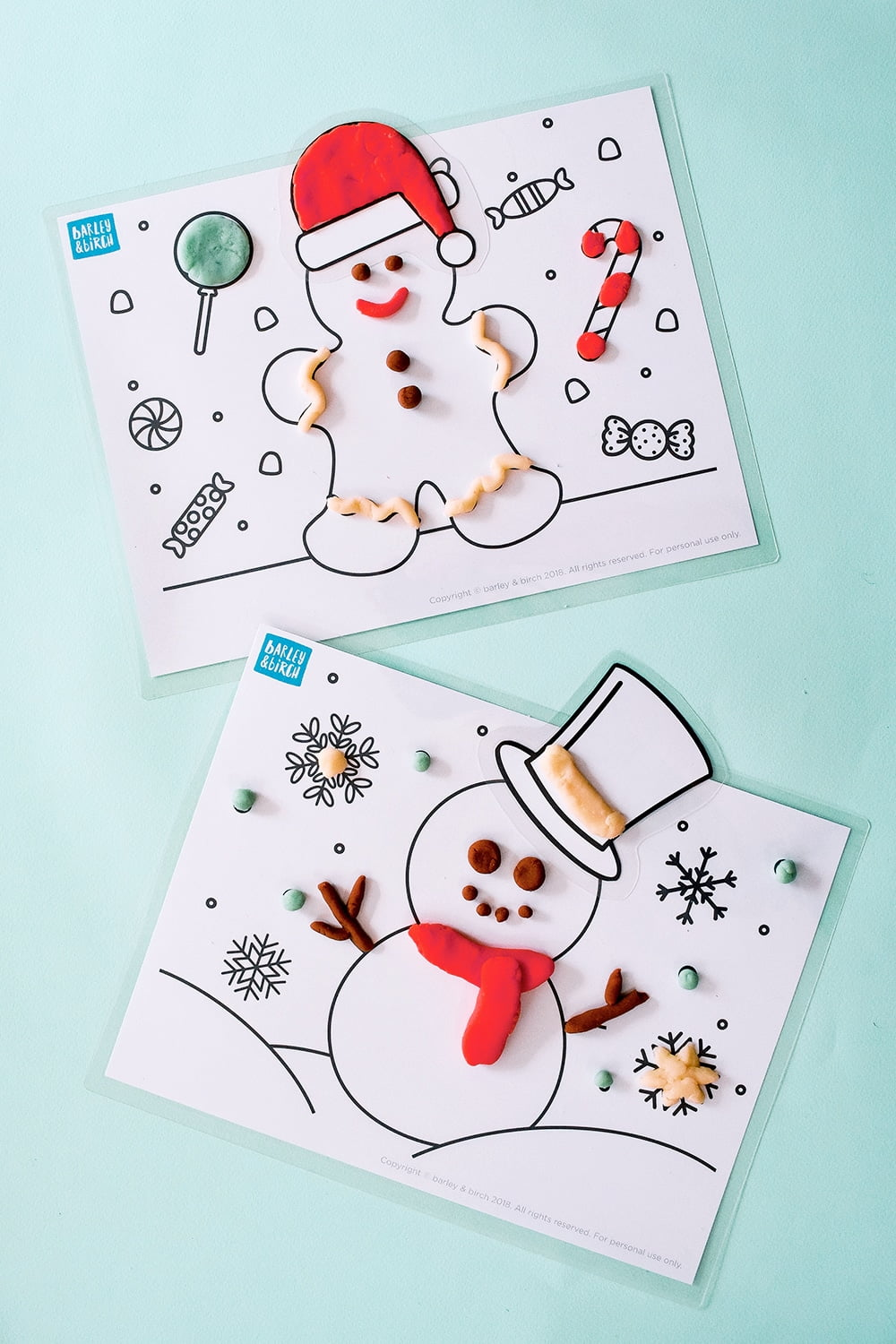 Make gingerbread and snowmen with these festive winter play dough mats! Add spices, peppermint and glitter for a fun winter sensory experience. | via barley & birch