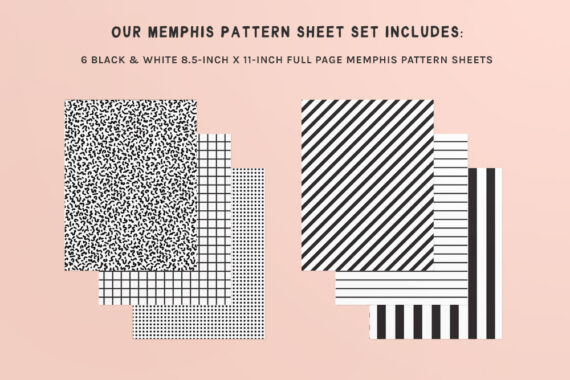 A preview of our printable Memphis pattern sheet set