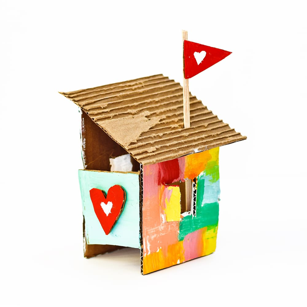 Recycle some cardboard and explore simple building with these little love shack art projects for kids | via barley & birch