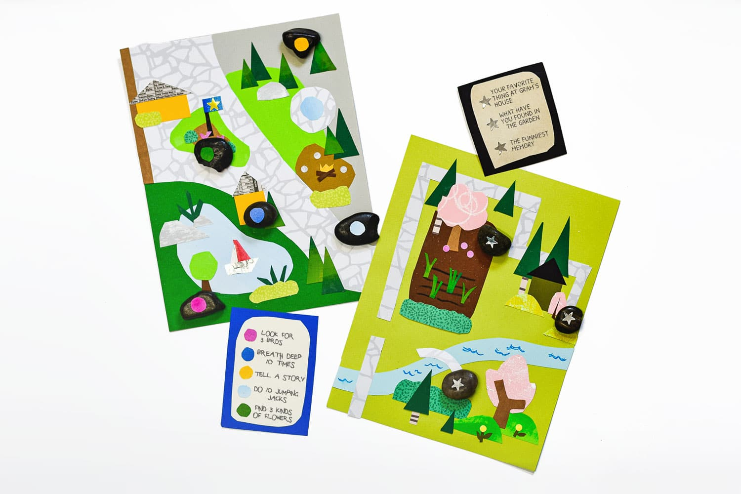 These interactive kid-made collages are a fun art exercise and mental scavenger hunt that will help your kiddos find some calming inner peace! | via barley & birch