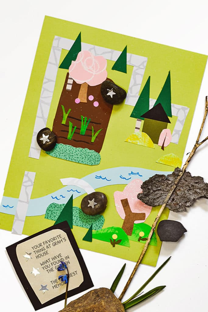 These interactive kid-made collages are a fun art project and map exerercise that turns into a nontraditional scavenger hunt for games and learning through play! | via barley & birch