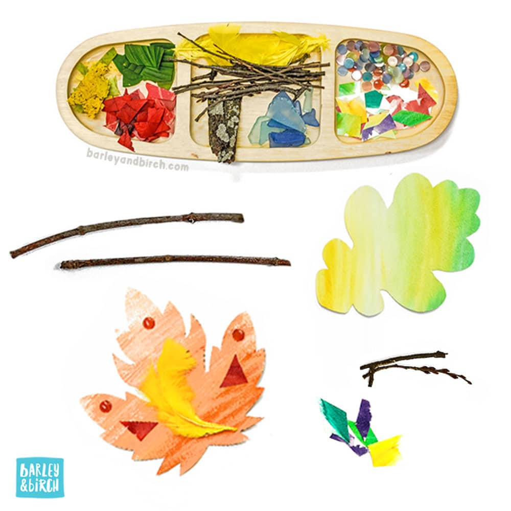 Use our free printable kids leaf activity kit and loose parts & nature supplies for a fall invitation to create! | via barley & birch