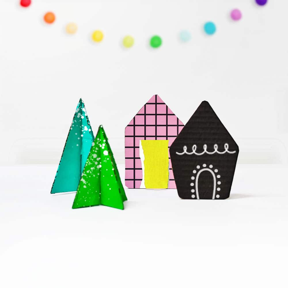 Make a modern, minimal winter village from collaged scraps and cardboard! A lovely holiday arts and crafts project for kids. | via barley & birch